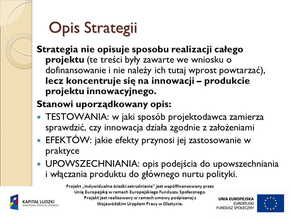 Opis Strategii Strategia nie opisuje sposobu realizacji całego projektu (te treści były zawarte we wniosku o dofinansowanie i nie należy ich tutaj wpr