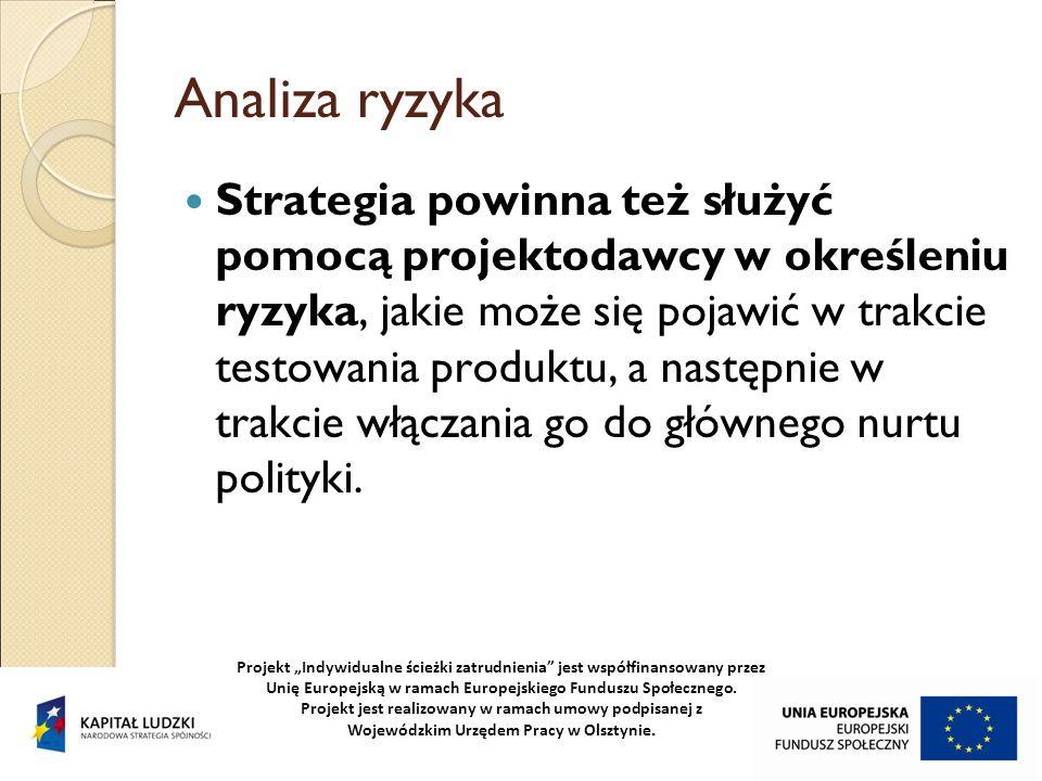 Analiza ryzyka Strategia powinna też służyć pomocą projektodawcy w określeniu ryzyka, jakie może się pojawić w trakcie testowania produktu, a następni
