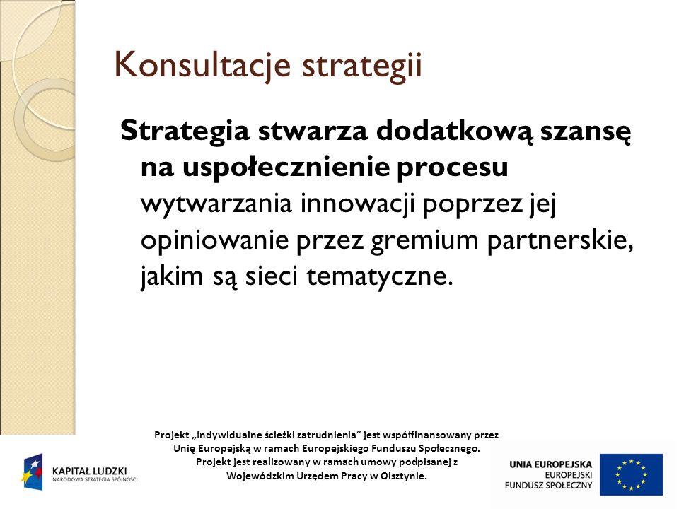 Konsultacje strategii Strategia stwarza dodatkową szansę na uspołecznienie procesu wytwarzania innowacji poprzez jej opiniowanie przez gremium partner