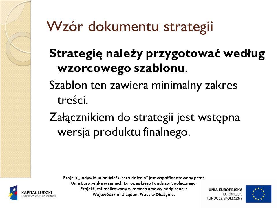 Wzór dokumentu strategii Strategię należy przygotować według wzorcowego szablonu. Szablon ten zawiera minimalny zakres treści. Załącznikiem do strateg