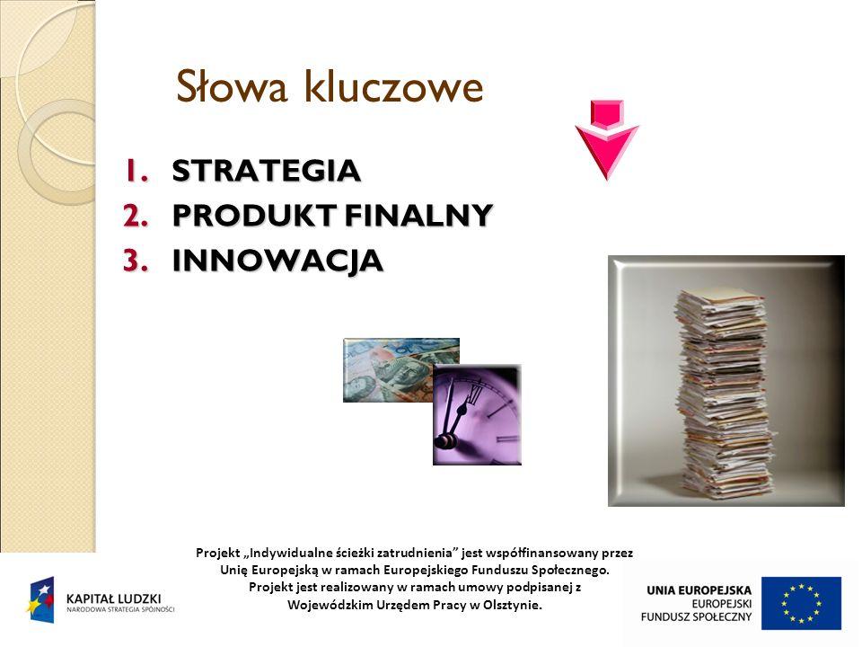 Słowa kluczowe 1. STRATEGIA 2. PRODUKT FINALNY 3. INNOWACJA Projekt Indywidualne ścieżki zatrudnienia jest współfinansowany przez Unię Europejską w ra