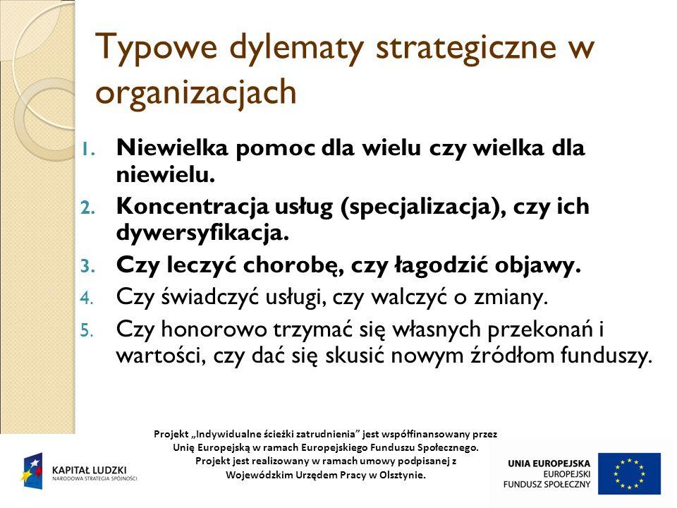 Typowe dylematy strategiczne w organizacjach 1. Niewielka pomoc dla wielu czy wielka dla niewielu. 2. Koncentracja usług (specjalizacja), czy ich dywe