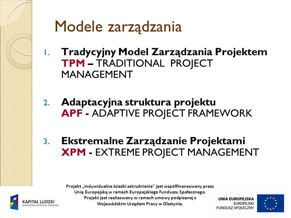 Modele zarządzania 1. Tradycyjny Model Zarządzania Projektem TPM – TRADITIONAL PROJECT MANAGEMENT 2. Adaptacyjna struktura projektu APF - ADAPTIVE PRO