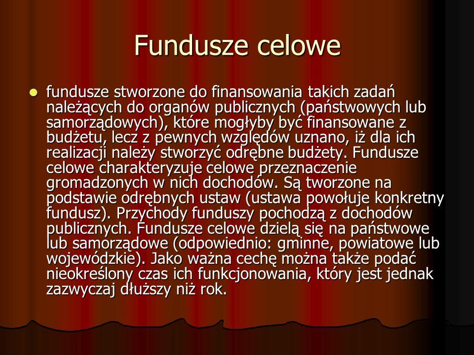Fundusze celowe fundusze stworzone do finansowania takich zadań należących do organów publicznych (państwowych lub samorządowych), które mogłyby być f