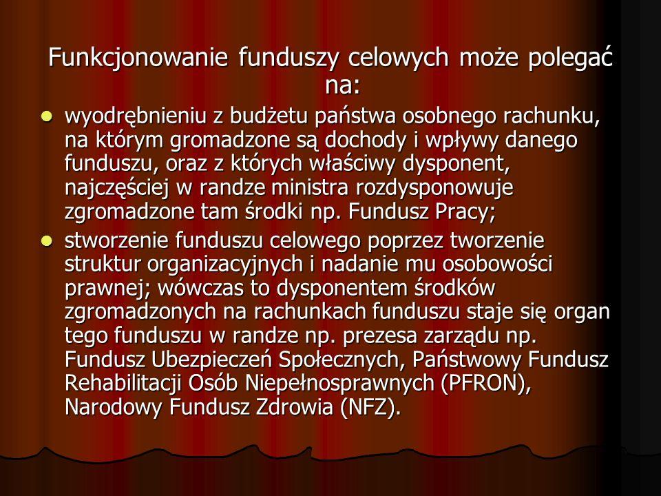 Funkcjonowanie funduszy celowych może polegać na: wyodrębnieniu z budżetu państwa osobnego rachunku, na którym gromadzone są dochody i wpływy danego f