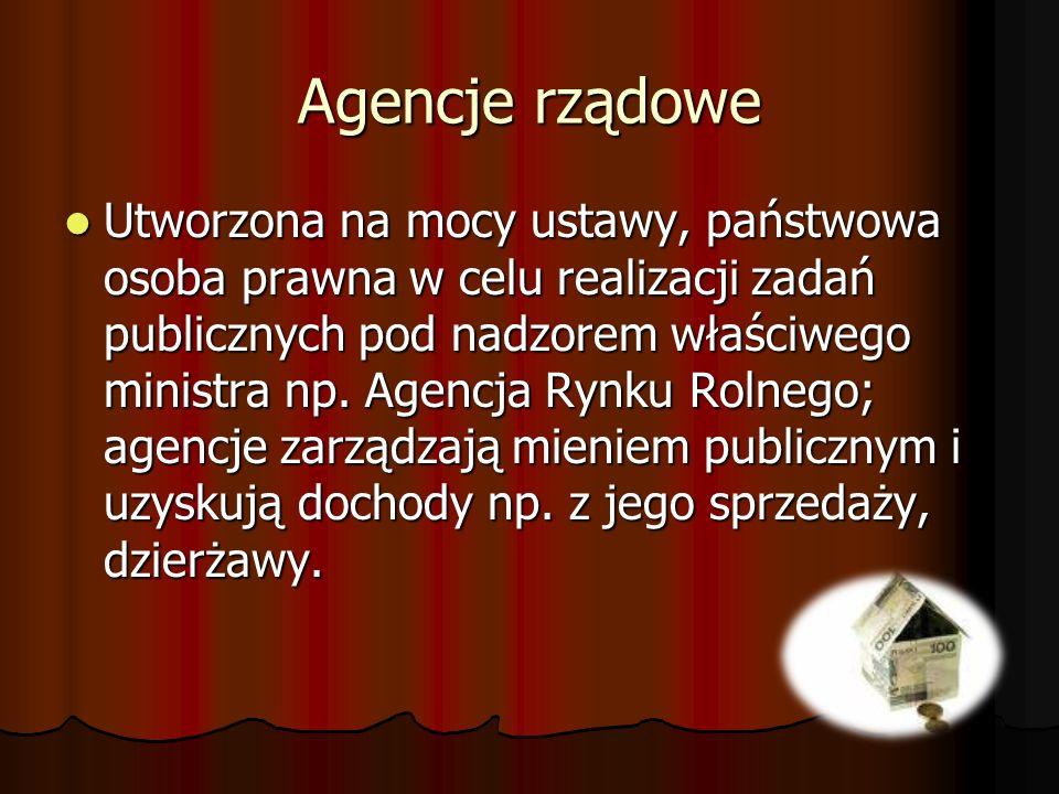 Agencje rządowe Utworzona na mocy ustawy, państwowa osoba prawna w celu realizacji zadań publicznych pod nadzorem właściwego ministra np. Agencja Rynk