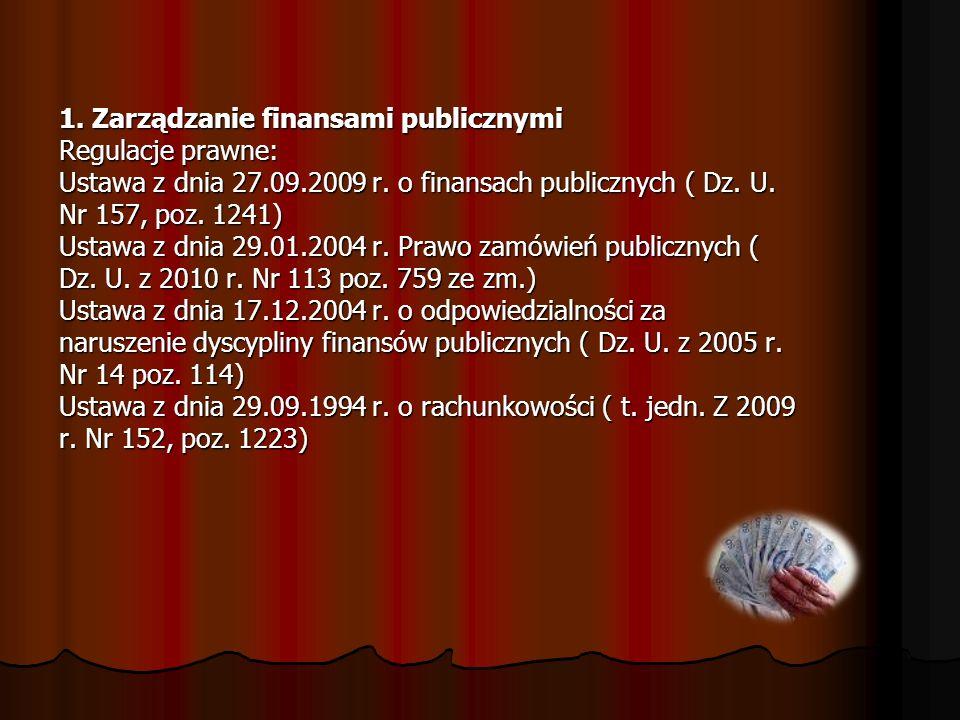 1. Zarządzanie finansami publicznymi Regulacje prawne: Ustawa z dnia 27.09.2009 r. o finansach publicznych ( Dz. U. Nr 157, poz. 1241) Ustawa z dnia 2