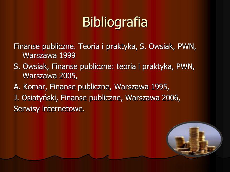 Bibliografia Finanse publiczne. Teoria i praktyka, S. Owsiak, PWN, Warszawa 1999 S. Owsiak, Finanse publiczne: teoria i praktyka, PWN, Warszawa 2005,