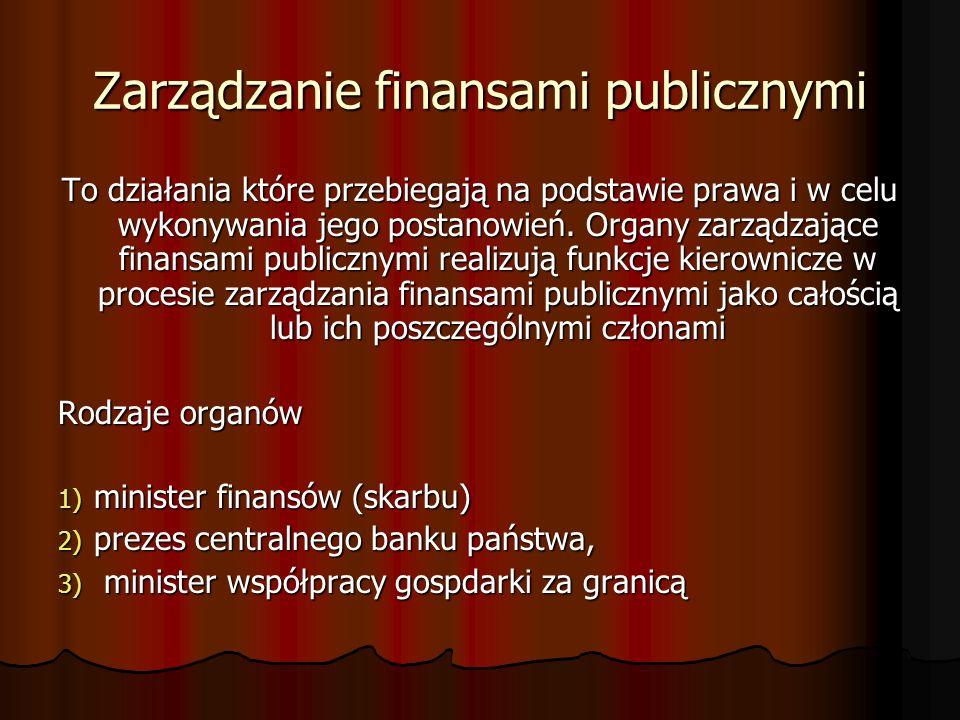 Finanse publiczne to finanse państwa i samorządu terytorialnego, obejmują one procesy związane z gromadzeniem środków publicznych oraz ich rozdysponowaniem, a w szczególności: pobieranie i gromadzenie środków publicznych pobieranie i gromadzenie środków publicznych wydatkowanie środków publicznych wydatkowanie środków publicznych finansowanie potrzeb pożyczkowych budżetu państwa finansowanie potrzeb pożyczkowych budżetu państwa zaciąganie zobowiązań angażujących środki publiczne zaciąganie zobowiązań angażujących środki publiczne zarządzanie środkami publicznymi zarządzanie środkami publicznymi zarządzanie długiem publicznym.