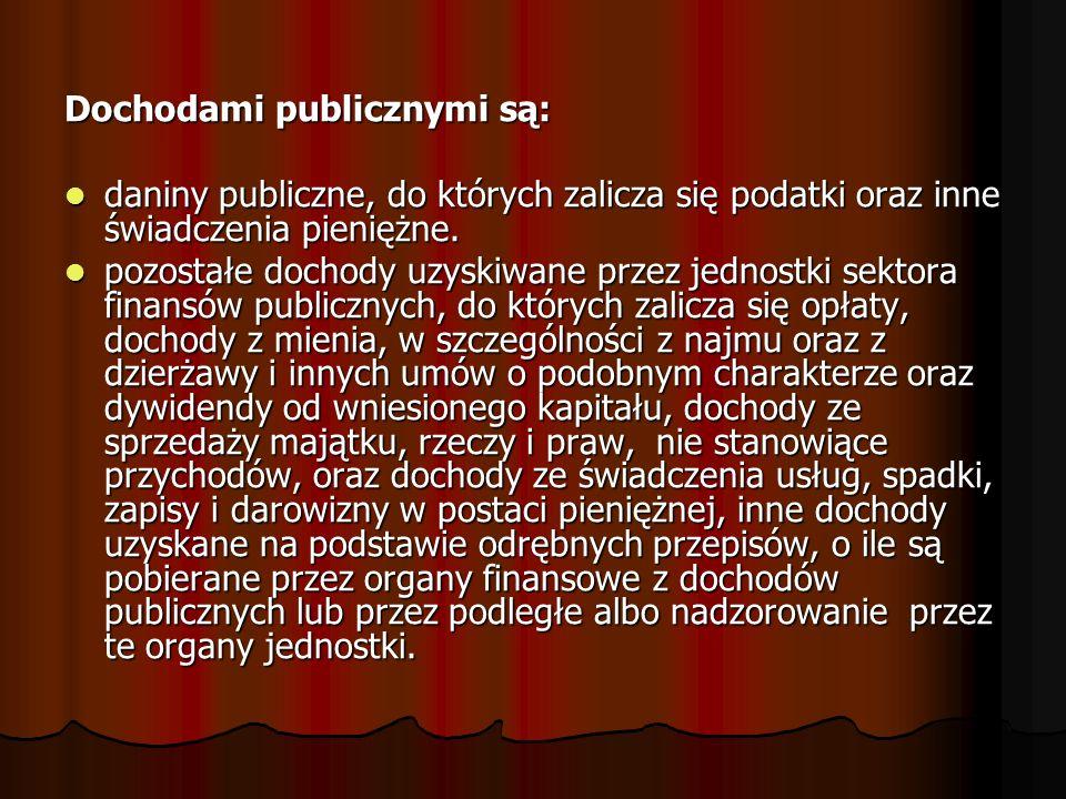 Dochodami publicznymi są: daniny publiczne, do których zalicza się podatki oraz inne świadczenia pieniężne. daniny publiczne, do których zalicza się p