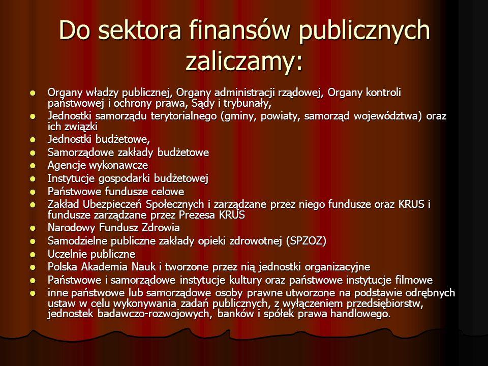 Do sektora finansów publicznych zaliczamy: Organy władzy publicznej, Organy administracji rządowej, Organy kontroli państwowej i ochrony prawa, Sądy i