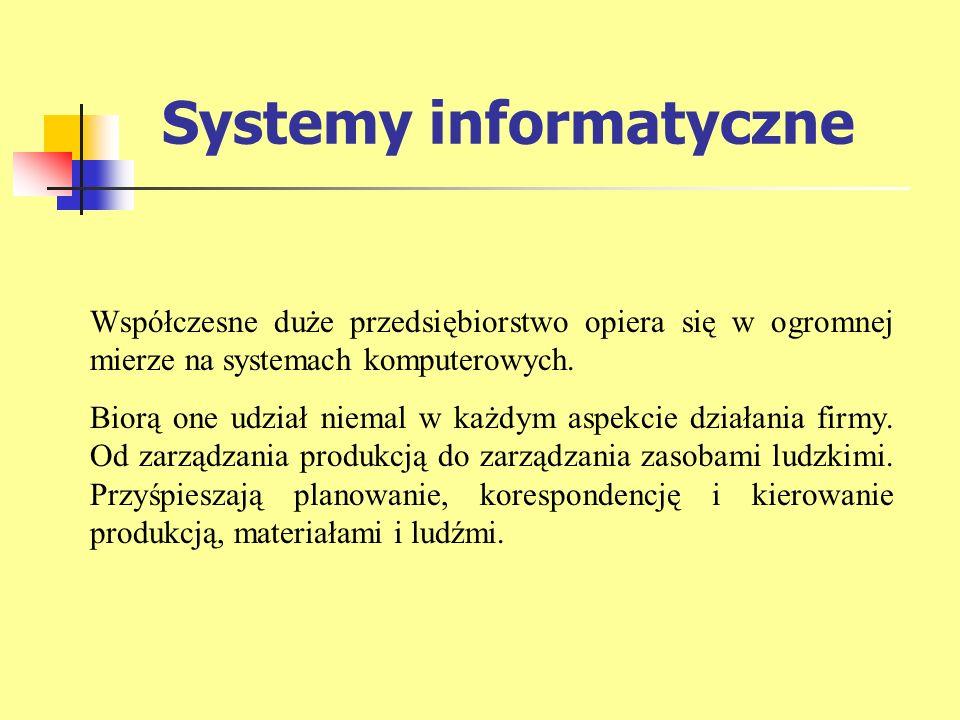 Systemy informatyczne Współczesne duże przedsiębiorstwo opiera się w ogromnej mierze na systemach komputerowych. Biorą one udział niemal w każdym aspe