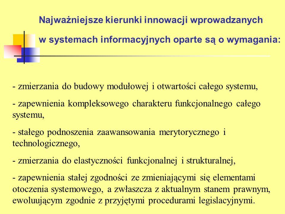 Najważniejsze kierunki innowacji wprowadzanych w systemach informacyjnych oparte są o wymagania: - zmierzania do budowy modułowej i otwartości całego