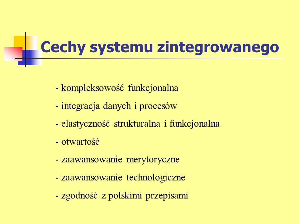 Cechy systemu zintegrowanego - kompleksowość funkcjonalna - integracja danych i procesów - elastyczność strukturalna i funkcjonalna - otwartość - zaaw