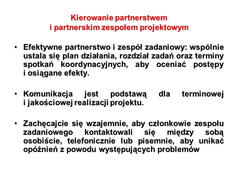 Efektywne partnerstwo i zespół zadaniowy: wspólnie ustala się plan działania, rozdział zadań oraz terminy spotkań koordynacyjnych, aby oceniać postępy i osiągane efekty.Efektywne partnerstwo i zespół zadaniowy: wspólnie ustala się plan działania, rozdział zadań oraz terminy spotkań koordynacyjnych, aby oceniać postępy i osiągane efekty.