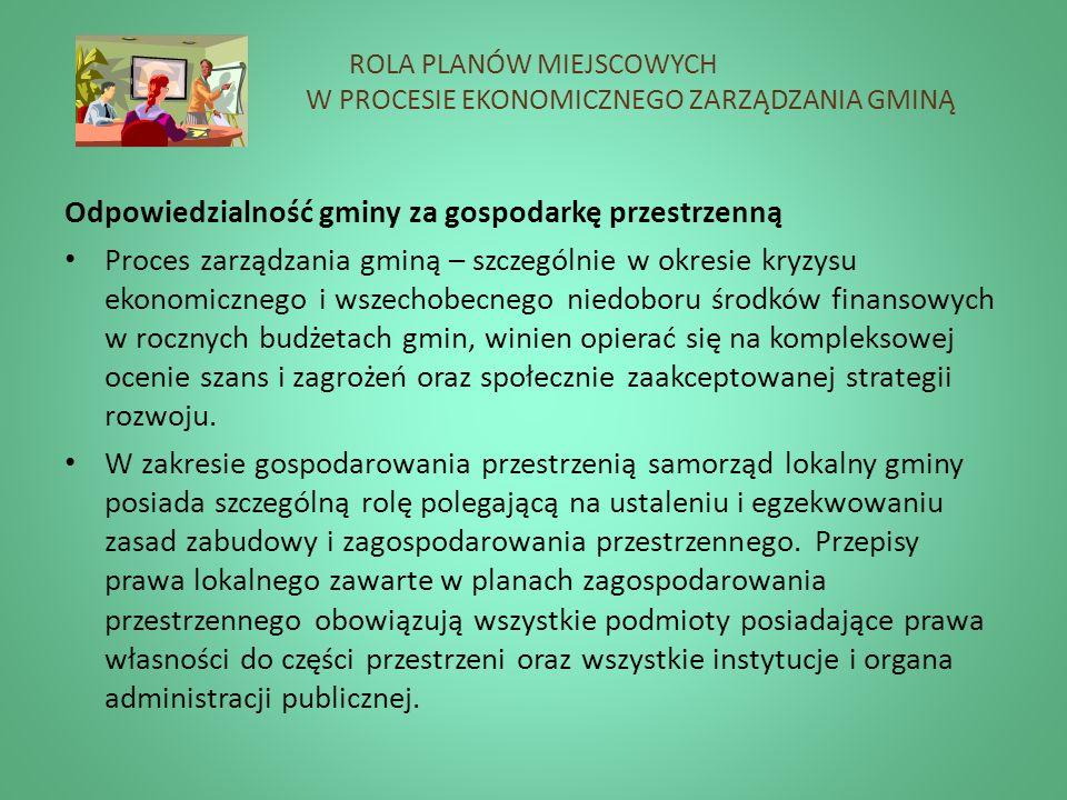 ROLA PLANÓW MIEJSCOWYCH W PROCESIE EKONOMICZNEGO ZARZĄDZANIA GMINĄ Odpowiedzialność gminy za gospodarkę przestrzenną Proces zarządzania gminą – szczeg