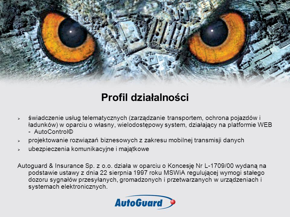 Profil działalności świadczenie usług telematycznych (zarządzanie transportem, ochrona pojazdów i ładunków) w oparciu o własny, wielodostępowy system,