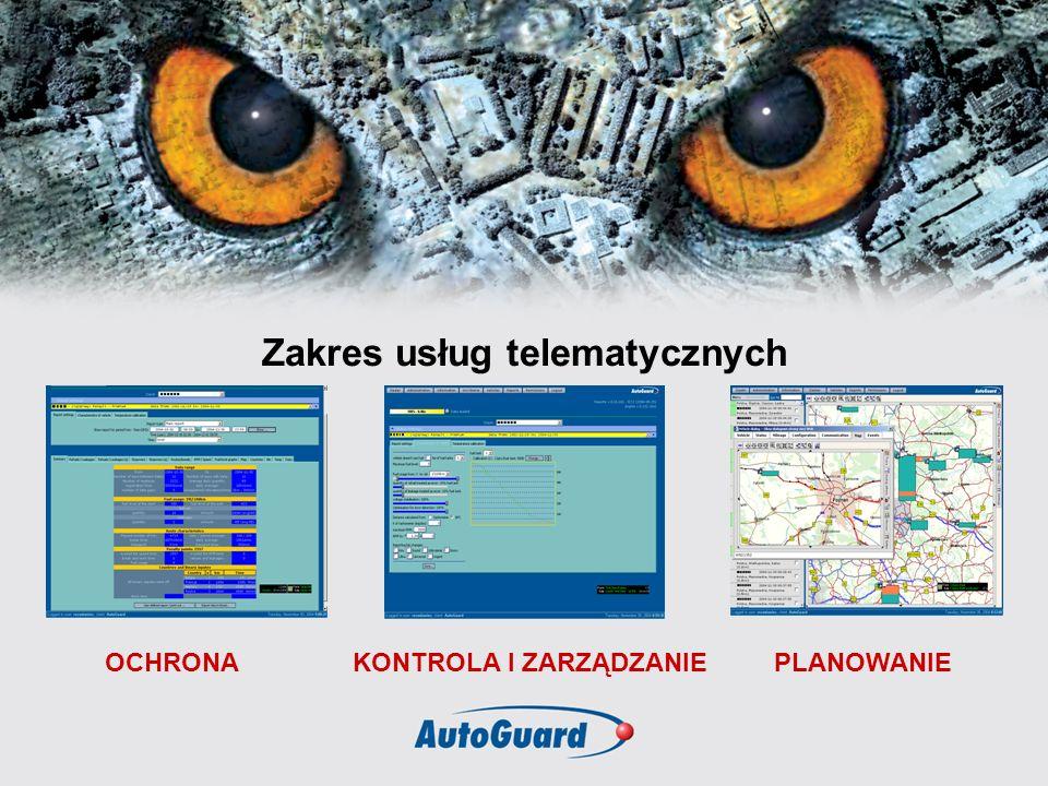 Zakres usług telematycznych OCHRONAKONTROLA I ZARZĄDZANIEPLANOWANIE