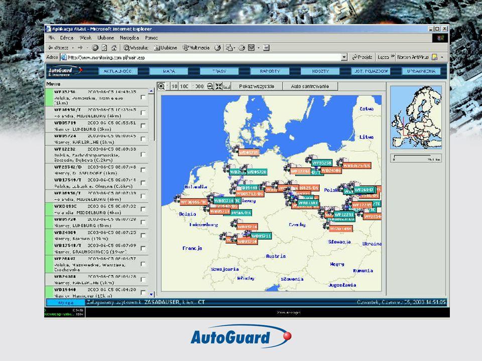 Technologia- Zastosowania Platforma telematyczna Autoguard® : Internetowy system zarządzania pojazdami Autocontrol© Global Positioning System – GPS Bezprzewodowa transmisja danych GSM/GPRS/SMS/ CSD System GIS - Cyfrowe mapy Polski i Europy