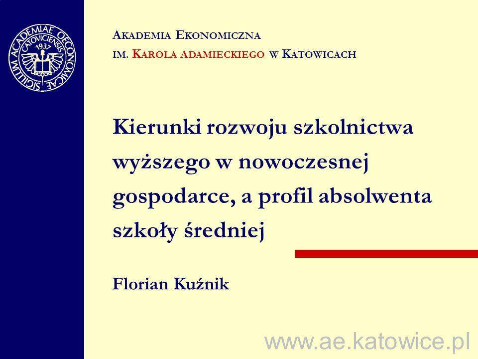 www.ae.katowice.pl Kierunki rozwoju szkolnictwa wyższego w nowoczesnej gospodarce, a profil absolwenta szkoły średniej Florian Kuźnik A KADEMIA E KONO