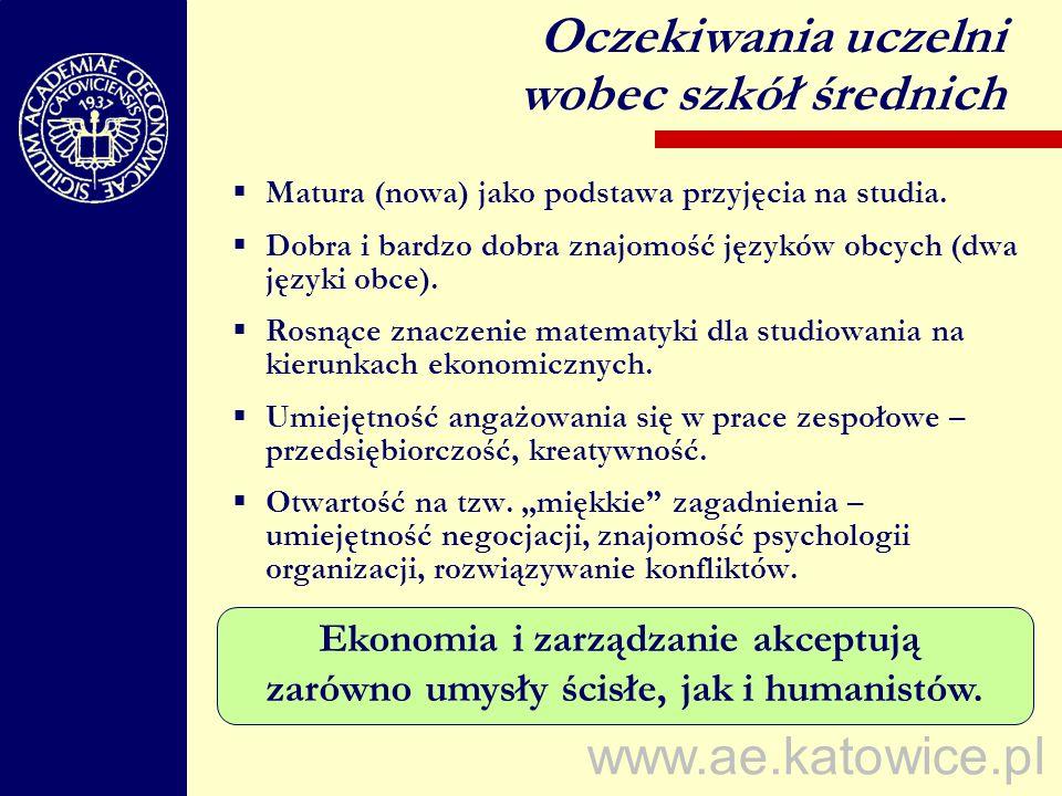 www.ae.katowice.pl Matura (nowa) jako podstawa przyjęcia na studia. Dobra i bardzo dobra znajomość języków obcych (dwa języki obce). Rosnące znaczenie