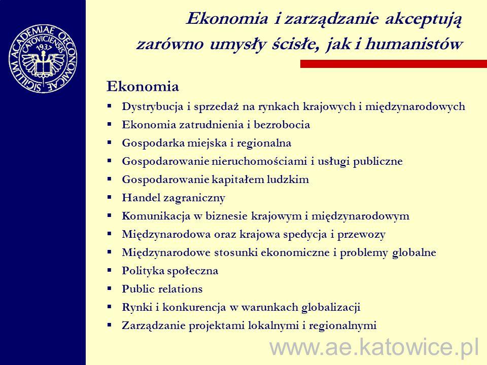 www.ae.katowice.pl Ekonomia Dystrybucja i sprzedaż na rynkach krajowych i międzynarodowych Ekonomia zatrudnienia i bezrobocia Gospodarka miejska i reg