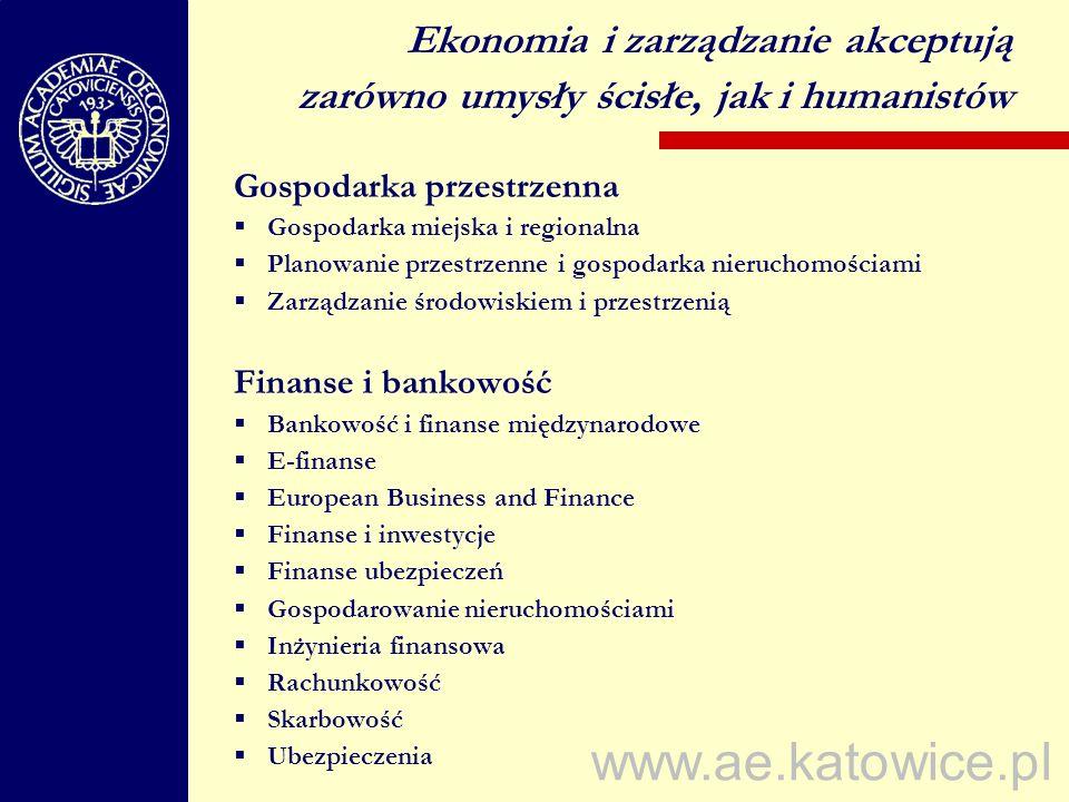 www.ae.katowice.pl Gospodarka przestrzenna Gospodarka miejska i regionalna Planowanie przestrzenne i gospodarka nieruchomościami Zarządzanie środowisk