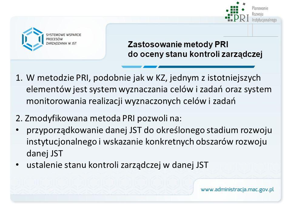 1.W metodzie PRI, podobnie jak w KZ, jednym z istotniejszych elementów jest system wyznaczania celów i zadań oraz system monitorowania realizacji wyzn