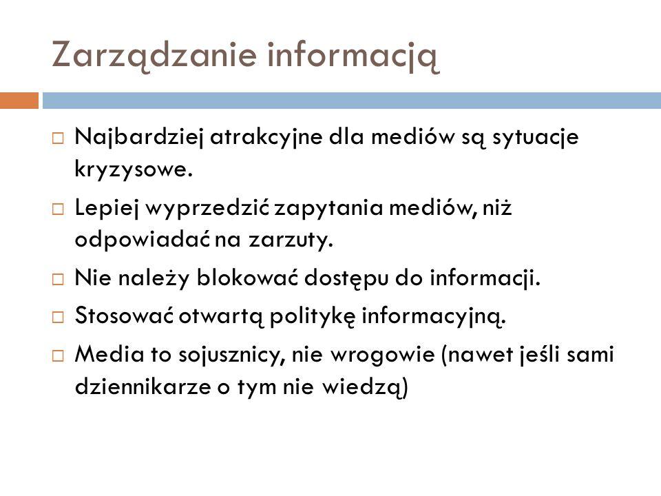Zarządzanie informacją Najbardziej atrakcyjne dla mediów są sytuacje kryzysowe.