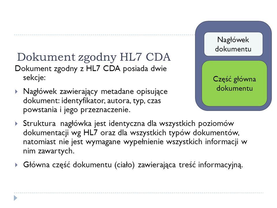 Dokument zgodny HL7 CDA Dokument zgodny z HL7 CDA posiada dwie sekcje: Nagłówek zawierający metadane opisujące dokument: identyfikator, autora, typ, c