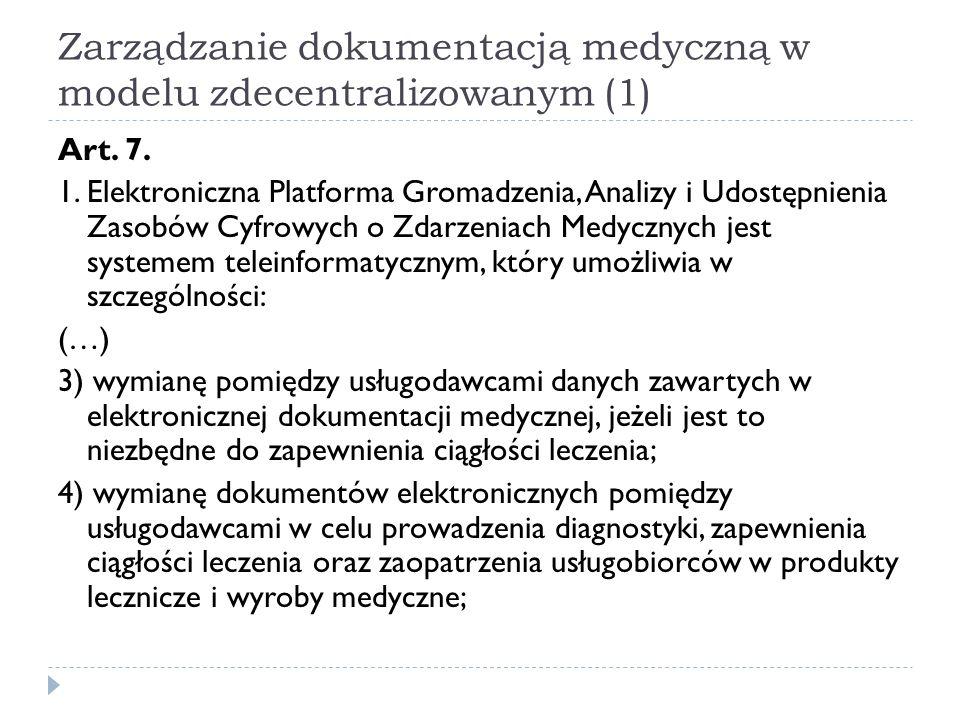 Zarządzanie dokumentacją medyczną w modelu zdecentralizowanym (1) Art. 7. 1. Elektroniczna Platforma Gromadzenia, Analizy i Udostępnienia Zasobów Cyfr