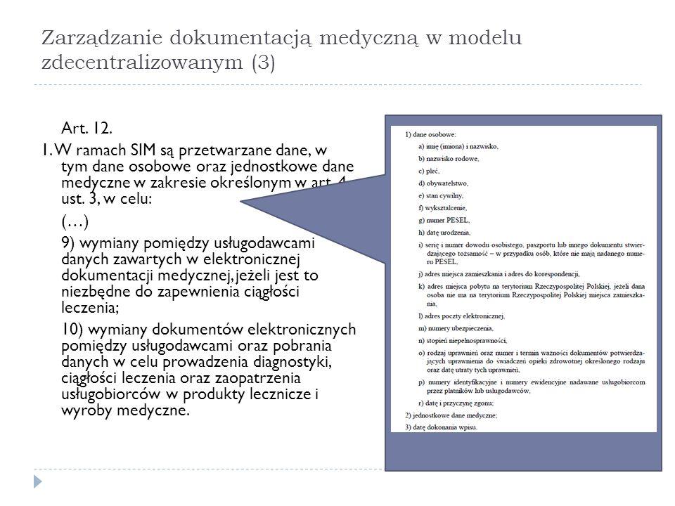 Zarządzanie dokumentacją medyczną w modelu zdecentralizowanym (3) Art. 12. 1. W ramach SIM są przetwarzane dane, w tym dane osobowe oraz jednostkowe d