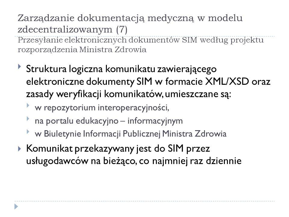 Zarządzanie dokumentacją medyczną w modelu zdecentralizowanym (8) zamawianie i udostępnianie dokumentacji medycznej według projektu rozporządzenia Ministra Zdrowia Przesłanie do SIM zapotrzebowania na EDM Przyjęcie przez SIM zapotrzebowania na EDM Weryfikacja uprawnień zamawiającego Przesłanie przez SIM zapotrzebowania na EDM do usługodawcy, do którego skierowano zapotrzebowanie Przygotowanie komunikatu przez pracownika medycznego usługodawcy udostępniającego EDM Podpisanie przez pracownika medycznego usługodawcy udostępniającego EDM komunikatu przy użyciu bezpiecznego podpisu elektronicznego albo danymi potwierdzonymi profilem zaufanym ePUAP Wysłanie do zamawiającego komunikatu przez usługodawcę udostępniającego EDM Odebranie przez zamawiającego komunikatu Potwierdzenie odebrania komunikatu przez zamawiającego w SIM i w systemie teleinformatycznym usługodawcy udostępniającego EDM