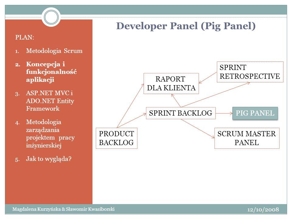 PLAN: 1. Metodologia Scrum 2. Koncepcja i funkcjonalność aplikacji 3. ASP.NET MVC i ADO.NET Entity Framework 4. Metodologia zarządzania projektem prac