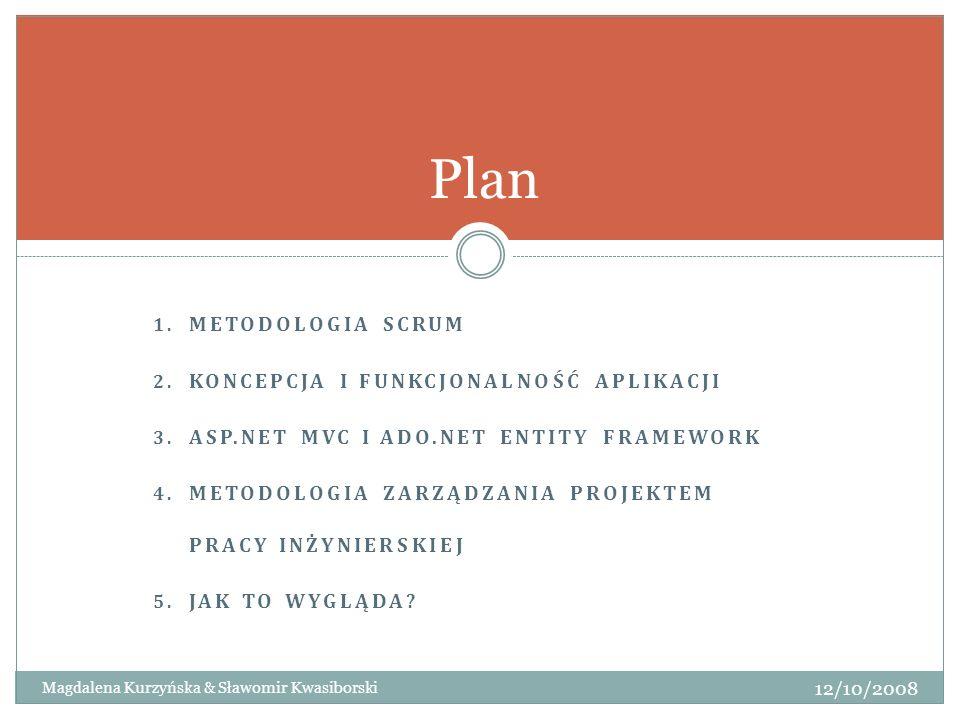 1. METODOLOGIA SCRUM 2. KONCEPCJA I FUNKCJONALNOŚĆ APLIKACJI 3. ASP.NET MVC I ADO.NET ENTITY FRAMEWORK 4. METODOLOGIA ZARZĄDZANIA PROJEKTEM PRACY INŻY
