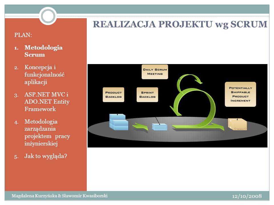 REALIZACJA PROJEKTU wg SCRUM PLAN: 1. Metodologia Scrum 2. Koncepcja i funkcjonalność aplikacji 3. ASP.NET MVC i ADO.NET Entity Framework 4. Metodolog