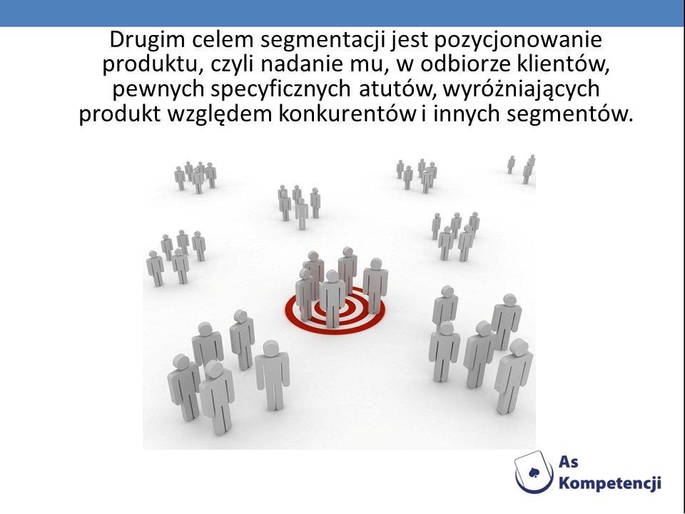 Drugim celem segmentacji jest pozycjonowanie produktu, czyli nadanie mu, w odbiorze klientów, pewnych specyficznych atutów, wyróżniających produkt wzg