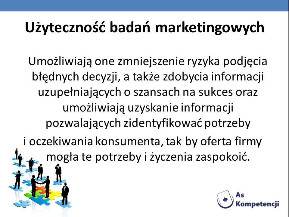 Cel i przedmiot badań marketingowych to dostarczenie menedżerom firmy informacji niezbędnych do podejmowania decyzji dotyczących strategii produktu i opakowania (usługi), polityki cenowej, dystrybucji i promocji produktu.