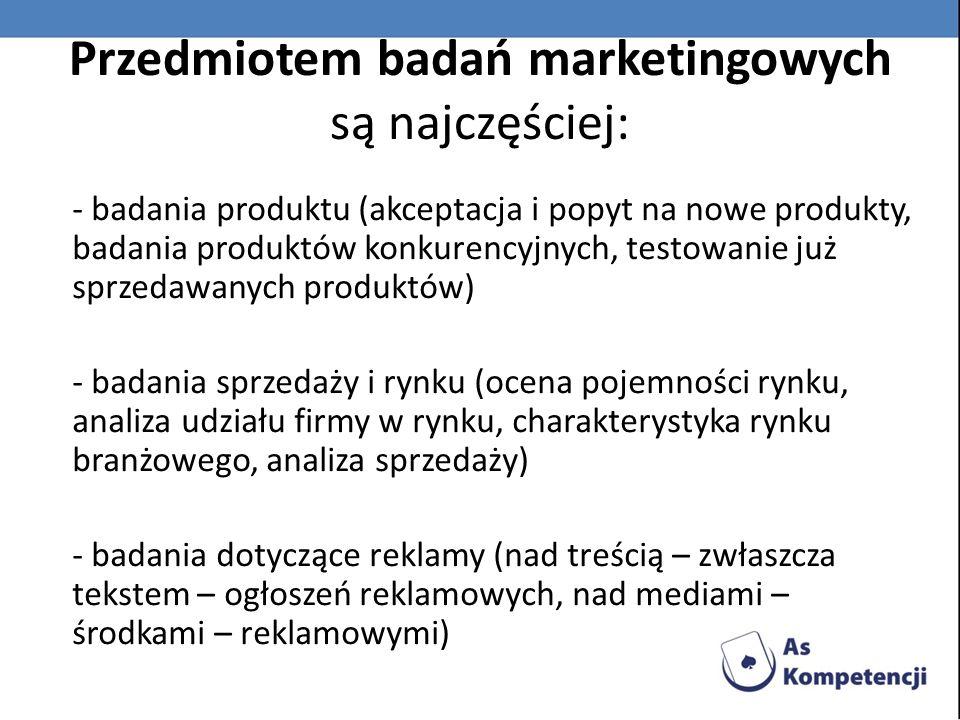 Przedmiotem badań marketingowych są najczęściej: - badania branży i funkcjonowania firmy (trendy branżowe, studia nad cenami, badania związane z lokalizacją zakładów produkcyjnych i placówek handlowych, analizy rynków zagranicznych, analizy zatrudnienia) - badania związane z problemami społecznej odpowiedzialności firmy (badania prawnych regulacji reklamy i promocji, analiza problemów ekologicznych)
