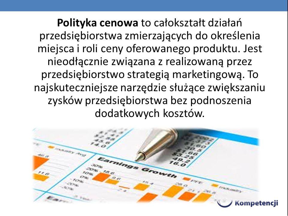 Polityka cenowa jest najbardziej skutecznym narzędziem zwiększania zysków bez ponoszenia dodatkowych kosztów.