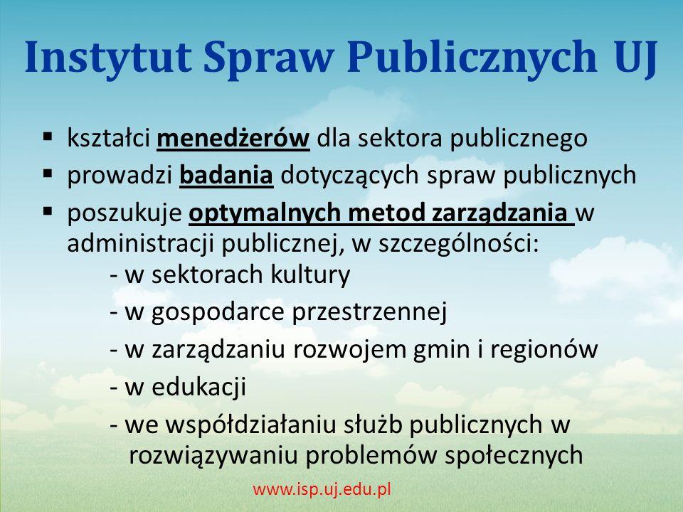 Instytut Spraw Publicznych UJ kształci menedżerów dla sektora publicznego prowadzi badania dotyczących spraw publicznych poszukuje optymalnych metod zarządzania w administracji publicznej, w szczególności: - w sektorach kultury - w gospodarce przestrzennej - w zarządzaniu rozwojem gmin i regionów - w edukacji - we współdziałaniu służb publicznych w rozwiązywaniu problemów społecznych www.isp.uj.edu.pl