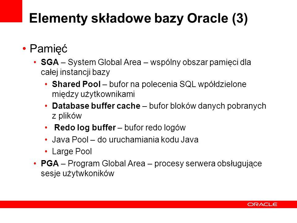 Elementy składowe bazy Oracle (3) Pamięć SGA – System Global Area – wspólny obszar pamięci dla całej instancji bazy Shared Pool – bufor na polecenia S