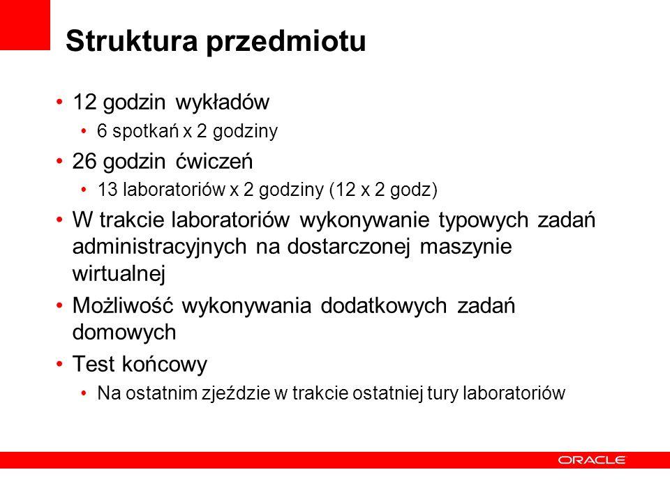 Struktura przedmiotu 12 godzin wykładów 6 spotkań x 2 godziny 26 godzin ćwiczeń 13 laboratoriów x 2 godziny (12 x 2 godz) W trakcie laboratoriów wykon