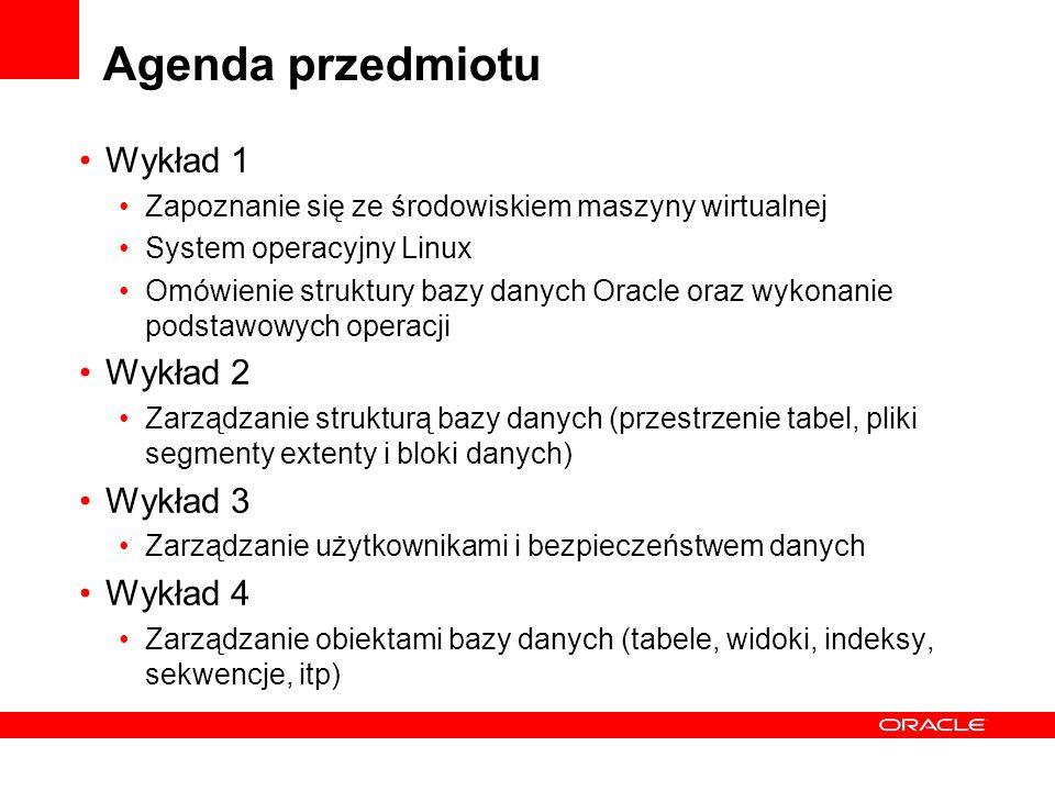 Agenda przedmiotu cd.