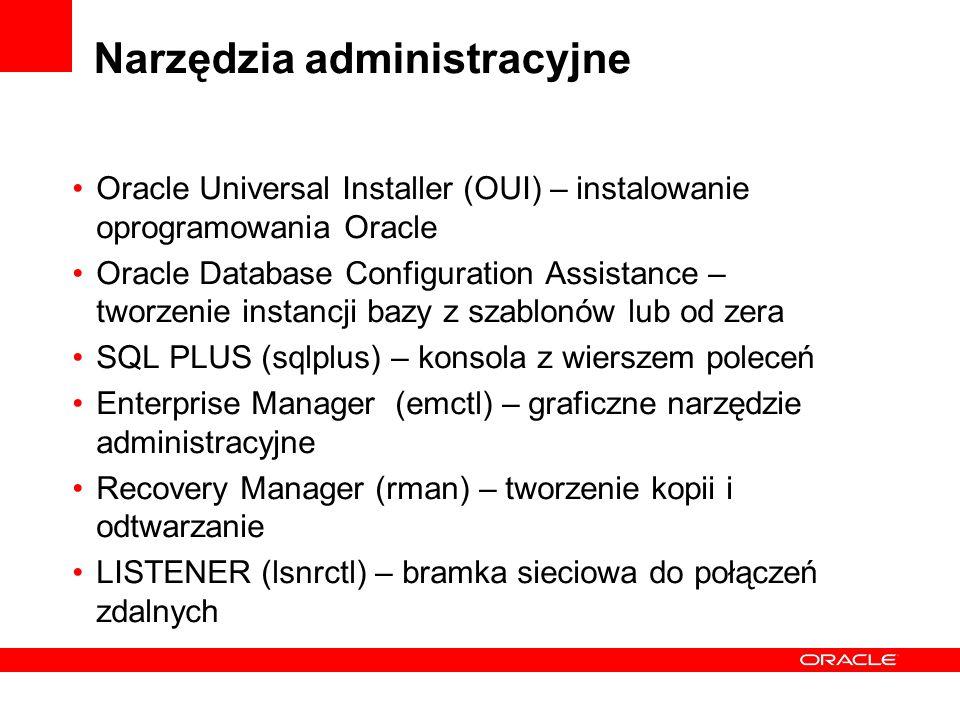 Narzędzia administracyjne Oracle Universal Installer (OUI) – instalowanie oprogramowania Oracle Oracle Database Configuration Assistance – tworzenie i