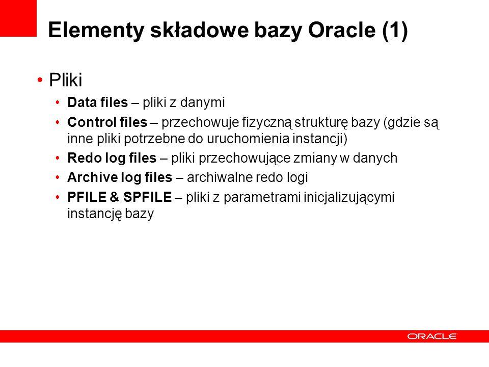 Elementy składowe bazy Oracle (2) Procesy SMON – System monitor – odtwarza bazę danych po awarii instancji PMON – Process monitor – sprząta po awari procesu użytkownika DBW – database writer – zapisuje zmienione bloki danych z pamięci w plikach na dysku (data files) LGWR – log writer – zapisuje zmiany w plikach redo logów CKPT – checkpoint – informuje o potrzebie zrzucenia wszystkich zmian z pamięci do plików na dyskach (data files, redo logs) ARC – archiver – kopiuje wypełnione redo logi do innej lokalizacji