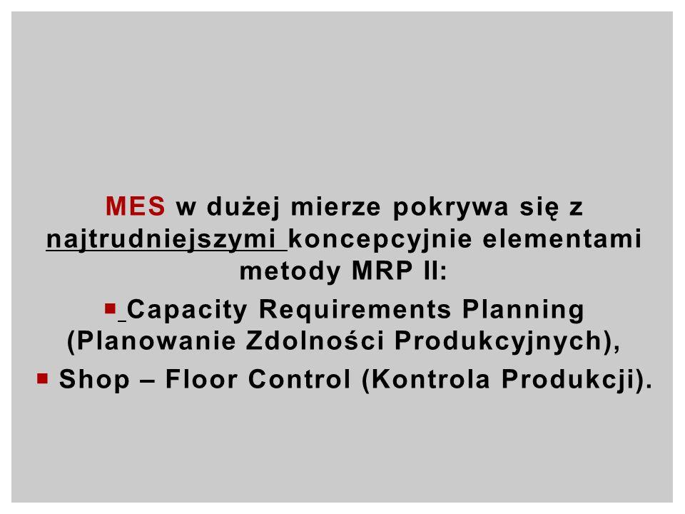 MES w dużej mierze pokrywa się z najtrudniejszymi koncepcyjnie elementami metody MRP II: Capacity Requirements Planning (Planowanie Zdolności Produkcy