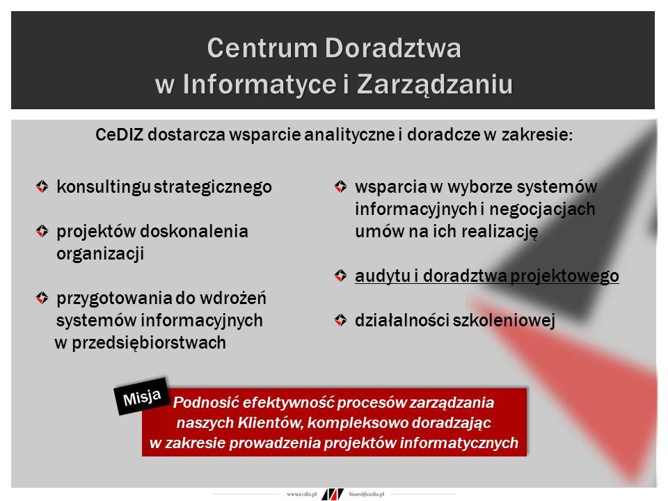 konsultingu strategicznego projektów doskonalenia organizacji przygotowania do wdrożeń systemów informacyjnych w przedsiębiorstwach wsparcia w wyborze
