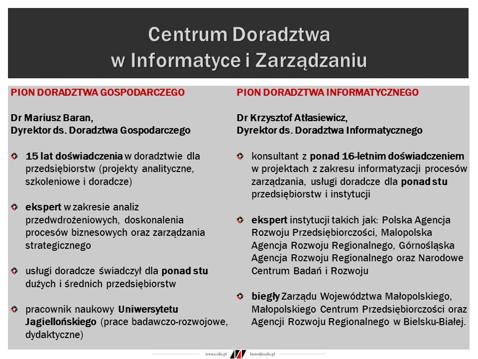 PION DORADZTWA GOSPODARCZEGO Dr Mariusz Baran, Dyrektor ds. Doradztwa Gospodarczego 15 lat doświadczenia w doradztwie dla przedsiębiorstw (projekty an