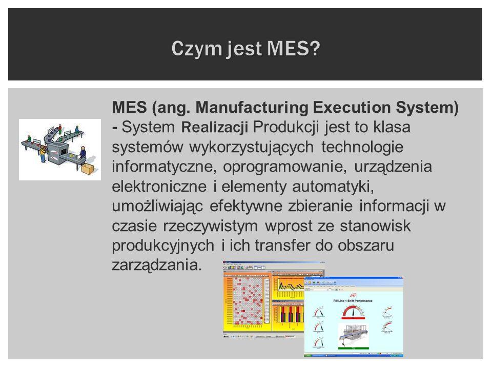 MES (ang. Manufacturing Execution System) - System Realizacji Produkcji jest to klasa systemów wykorzystujących technologie informatyczne, oprogramowa